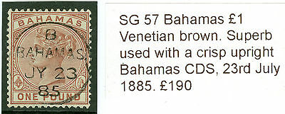 SG 57 Bahamas £1 Venetian brown. Superb used with a crisp upright Bahamas CDS...