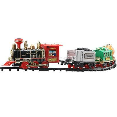 Plastic Electric Track Train Set Locomotive Motorized Vehicle Toy with Smoke