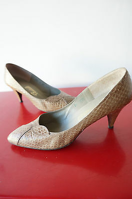 ESCARPINS fauve reptile croco T 41 CHIC preppy RETRO vintage VTG cuir leather