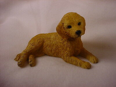 GOLDENDOODLE Dog HAND PAINTED FIGURINE Resin Statue GOLDEN DOODLE Puppy