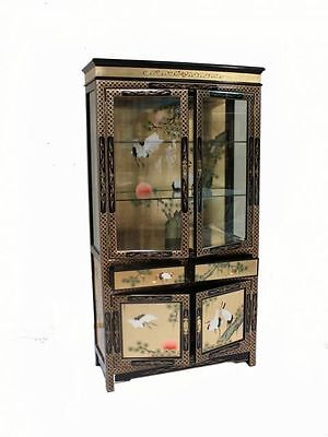 Gold Leaf With Crane Design Wall Display Cabinet Oriental Furniture