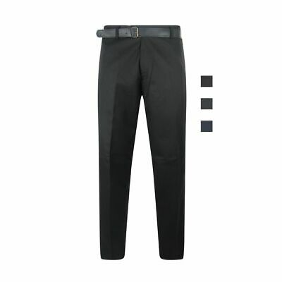 Adults Mens Black School Trousers Bottoms Pants Mobile Pocket Belt Formal Smart