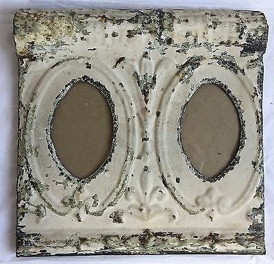 Vintage 1890's CEILING TIN Picture Frame Double 4 x 6  Metal Oval Cream A2