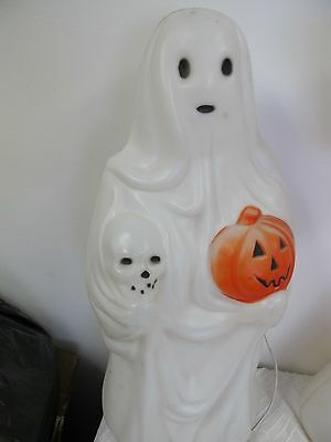 Empire Halloween Blow Mold Ghost Holding Skull Pumpkin Lighted Display 22""