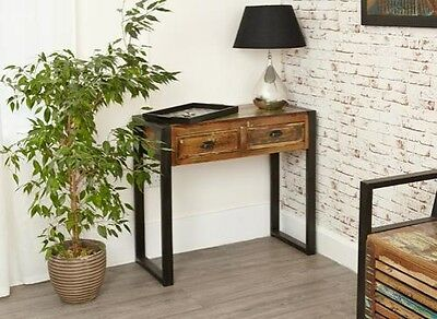 Urban Steel Framed Wooden Chic Console Table