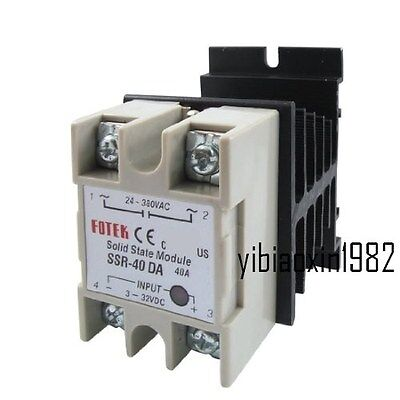 New Output AC 24V-380V 40A SSR-40 DA Solid State Relay Module + Heat Sink