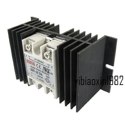 Single Phase Solid State Relay SSR-50DA 3-32V DC 24-380V AC & Aluminum heat sink