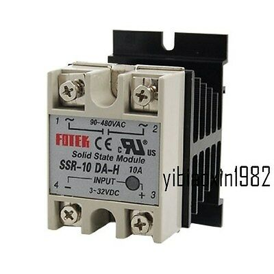 New Single Phase Solid State Relay SSR-10DA 10A 90-480V AC with Heat Sink