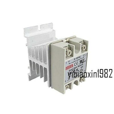 New Single Phase Solid State Relay SSR-40DA 40A 24-380V AC with Heat Sink