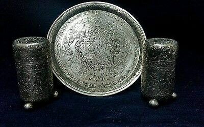 Old Persian Qajar silver salt and pepper shakers with tray
