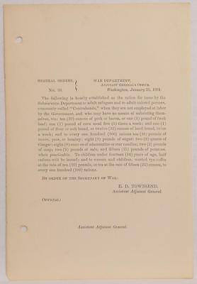 1864 Civil War Document General Orders Food Rations for Free Slaves Colored