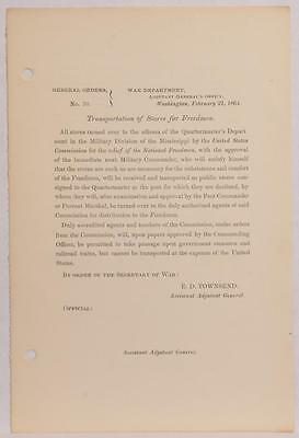1864 Civil War Document General Orders Transportation of Freed Slaves Colored