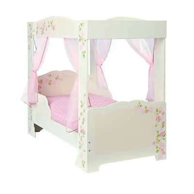 Girls Rose 4 Poster Toddler / Junior Bed Pink Cream Roses Print Mdf Free P+P