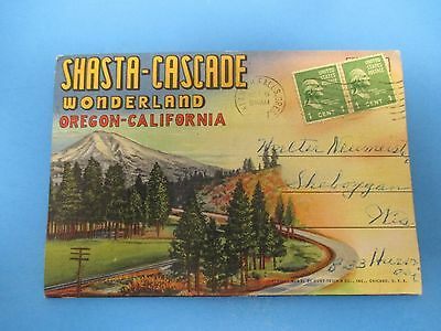 Vintage Souvenir Postcard Folder Oregon - California Shasta - Cascade S458