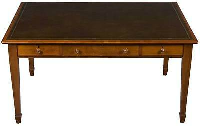 Sheraton Antique Style Large Writing Table Library Desk on Legs Leather Top