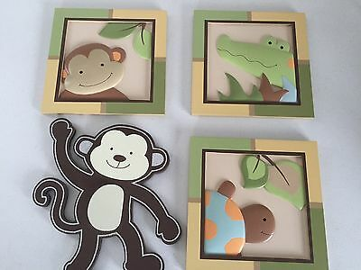 Lambs & Ivy Papagayo pictures/wall hangings Baby Nursery decor Turtle Monkey +