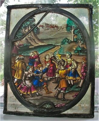 Antique 17th C. STAINED GLASS Window w/ People Meeting  c. 1675  ancient art