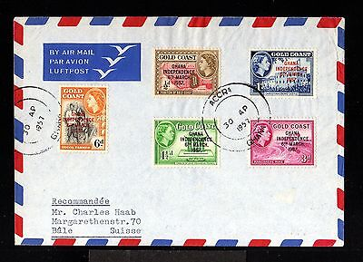 12114-GOLD COAST-AIRMAIL COVER ACCRA to BALE (switzerland)1957.BRITISH.COTE D´OR