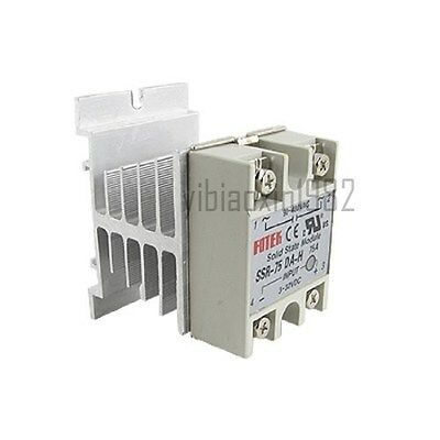New DC to AC Solid State Relay SSR-75 DA 75A DC3-32V AC90-480V + Heat Sink