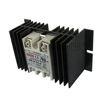 New DC-AC Single Phase Solid state relay SSR-50DA-H 50A w heat sink