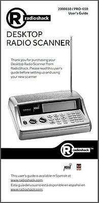 RadioShack PRO-650 CD OWNER'S MANUAL 2000-650 Radio Scanner Book on CD