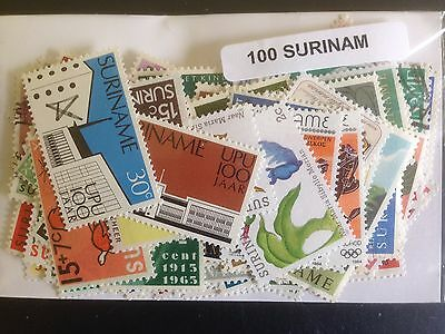 100 Different Suriname Stamp Collection