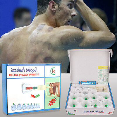 24 Cups Chinese Massage Medical Body Healthy Set Cupping Therapy Vacuum Suction