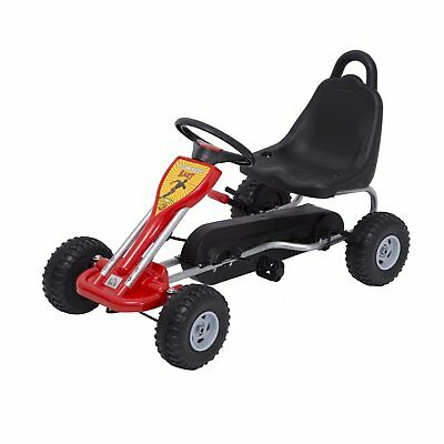 "35"" Pedal Go Kart Kids Children Racing Wheel Rider w/ Hand Brake, Red Black"