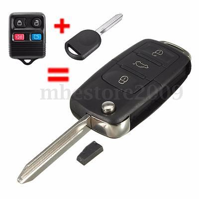 4 Buttons Flip Uncut Key Entry Remote Control Fob & Transponder Chip 63 For Ford