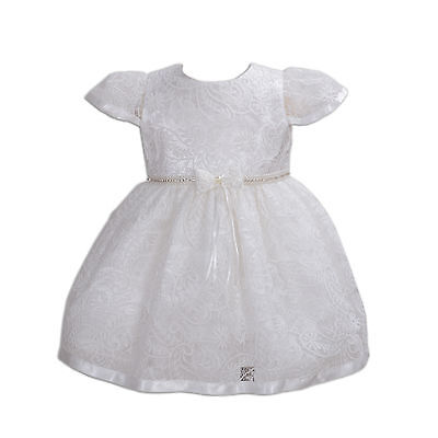 New Girls Ivory Lace Christening Party Wedding Flower Girl Dress 12-18 Months