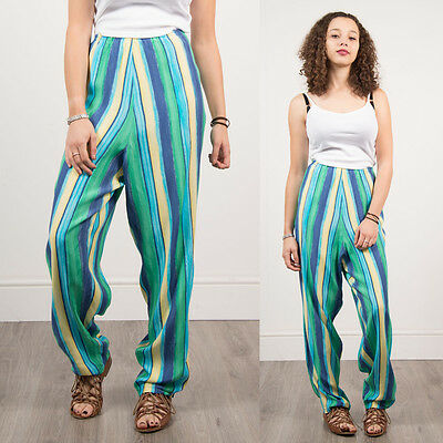 Womens Retro Green Blue Striped Pattern Loose Fit Summer Trousers Casual 20 22