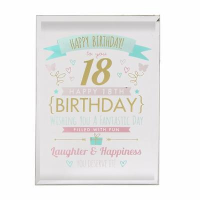 18th Birthday Gift - Glass Sentiment Plaque New Boxed  FG50118