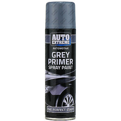4 x 250ml Grey Primer Matt Spray Paint Aerosol Can Auto Extreme Metal Wood