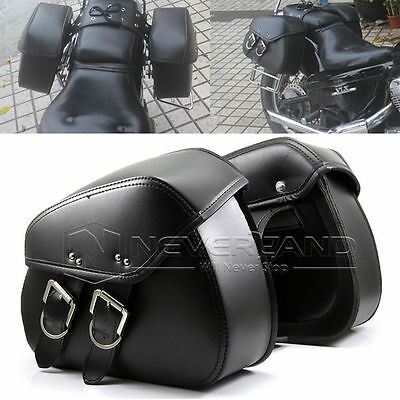 Black Swingarm Single Side Pannier Saddle Bag For Harley Sportster Touring 883XL