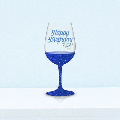 6 Happy Birthday Wine Glass Vinyl Decal Stickers (V9) DIY Glittered Glasses