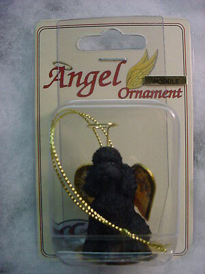 BLACK POODLE dog ANGEL ORNAMENT Resin Figurine NEW Christmas puppy sport cut