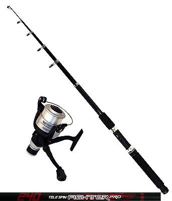 DAM Angelset Rute Tele Spin Fighter Pro 2,40m Angelrolle Quick Fighter 140RD