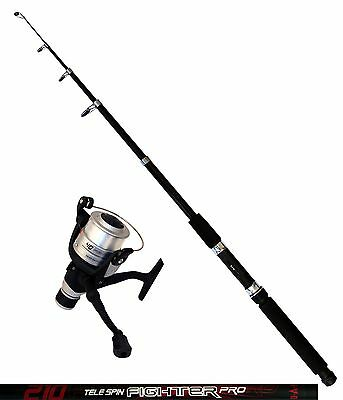 DAM Angelset Rute Tele Spin Fighter Pro 2,10m Angelrolle Quick Fighter 140RD