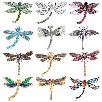 Vintage Rhinstone Crystal Dragonfly Pin Brooch Party Shoe Cake Decoration Gift