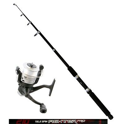 DAM Angelset Rute Tele Spin Fighter Pro 2,10m Angelrolle Quick Fighter 120RD