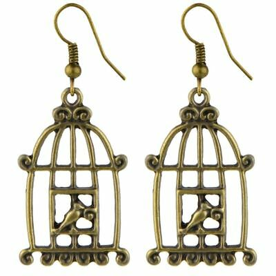 Funky Vintage Retro Tin Alloy Bird Cage Drop Earrings - Antique Gold/ Brass