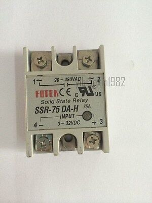New SSR-75DA-H 75A Single Phase Solid State Relay DC 3-32V to AC 90-480V