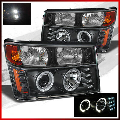 Fits 04-12 Colorado, Canyon BLK Halo Projector HeadLamps+Bumper Lights w/LED