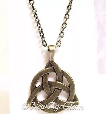 *CELTIC KNOT BRONZE*_Chain Necklace + Pendant_Triquetra Irish Trinity Pagan_N181