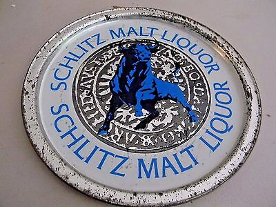 "Schlitz Malt Liquor Bull  Beer Tray- Metal- 10 1/2"" Shallow Tray"