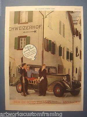Original Vintage 1933 Saturday Evening Post Full Color Ad For The New Desoto Six