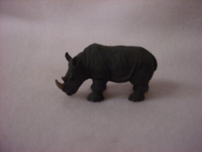 RHINO animal TiNY FIGURINE Resin RHINOCEROS HAND PAINTED MINIATURE Mini Zoo