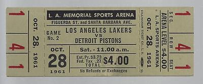 1961-62 Nba Detroit Pistons @ Los Angeles Lakers Full Unused Basketball Ticket