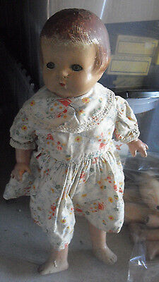 """Vintage 1930s Composition Character Girl Doll 19"""" Tall"""