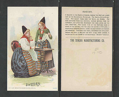 1880s SINGER SEWING MACHINE VICTORIAN TRADE CARD  SWEDEN